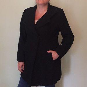 Black three-quarter length pea coat
